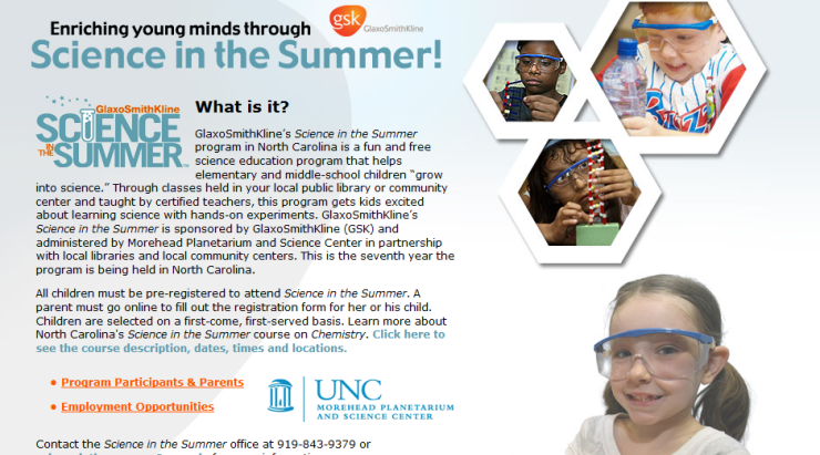 Glaxo Smith Kline  Summer Science Program graphic