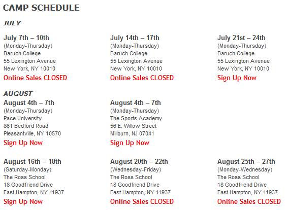 NY Knicks Schedule