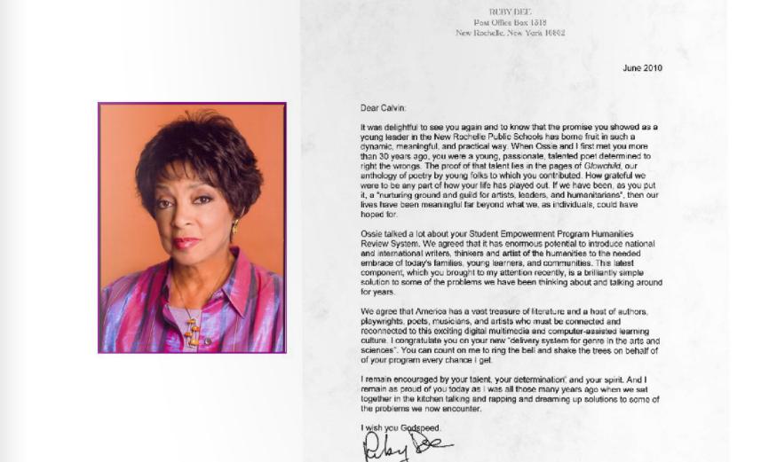 Ruby Dee Letter