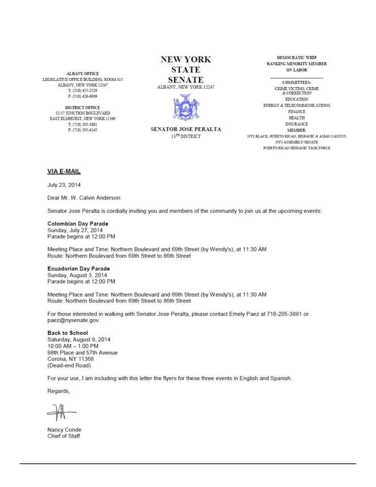 WCA Letter