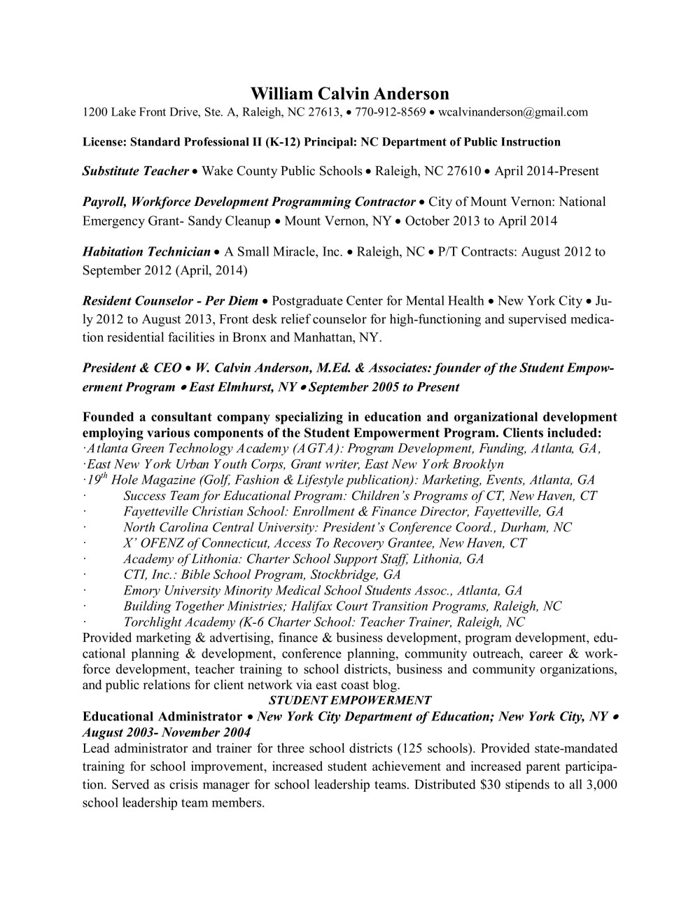 W. Calvin Anderson, M.Ed Resume  page 1