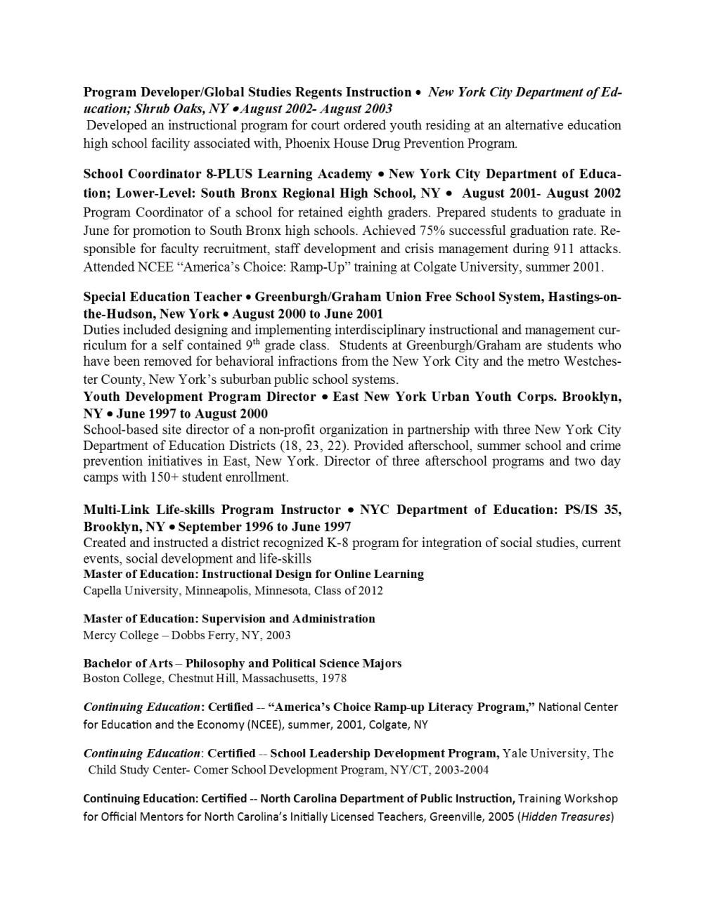 W. Calvin Anderson, M.Ed Resume  page 2